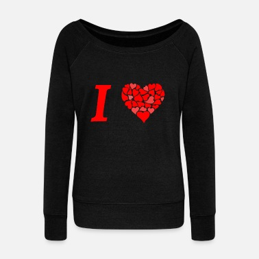 I Love I love I love in Love - Women's Boat Neck Long Sleeve Top
