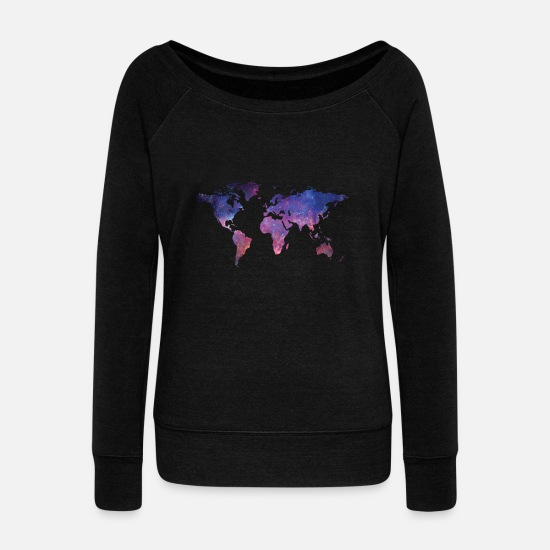 Shooting Star Long sleeve shirts - The world in a different perspective - Women's Wide-Neck Sweatshirt black