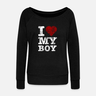 Boy I Love my BOY vintage light - Women's Boat Neck Long Sleeve Top