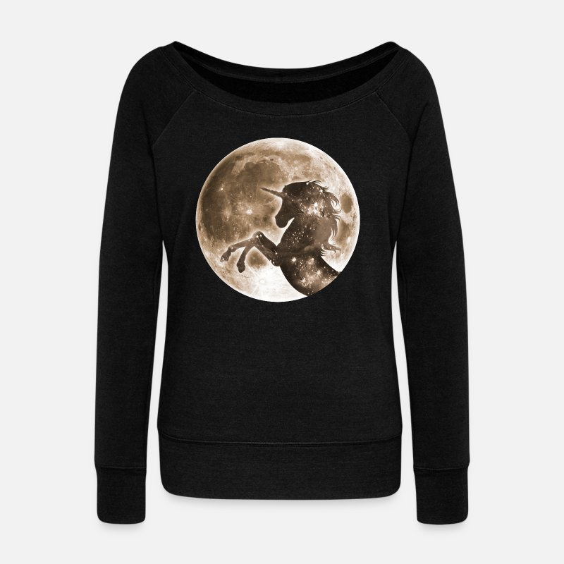 Wild Horse Long Sleeve Shirts - Unicorn full moon, galaxy, space, horse, fantasy - Women's Wide-Neck Sweatshirt black