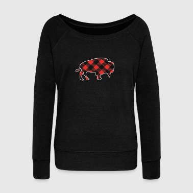 Plaid Raging Buffalo Checkered J'aime Buffaloes Plain - Pull Femme col bateau de Bella