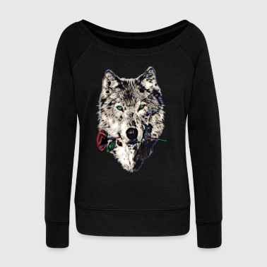 Wolf, wolves, animal, wild, blue eyes, rose - Women's Boat Neck Long Sleeve Top