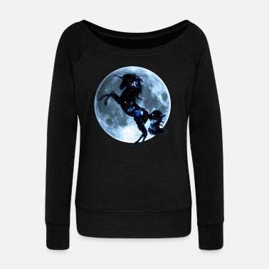 Animal Planet Unicorn, fullmoon, moon, fantasy, magic, space - Women's Boat Neck Long Sleeve Top