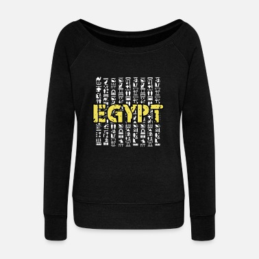 Ancient Egypt hieroglyphics Ancient Sphinx pyramid - Women's Boat Neck Long Sleeve Top