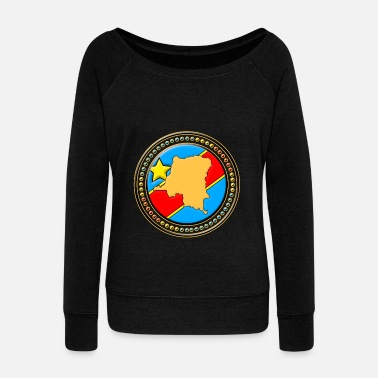 Congo Congo - Congo flag map - Women's Wide-Neck Sweatshirt