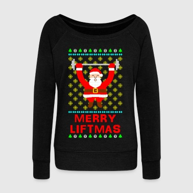 Merry Liftmas Ugly Christmas Sweater - Women's Boat Neck Long Sleeve Top