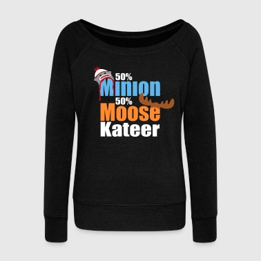 50% Minion 50% MooseKateer - Women's Boat Neck Long Sleeve Top