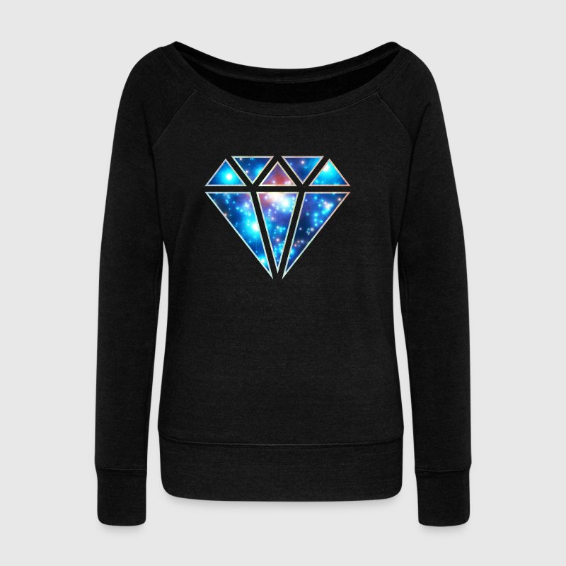 Diamond, galaxy style, triangle, space, symbol,  - Women's Boat Neck Long Sleeve Top