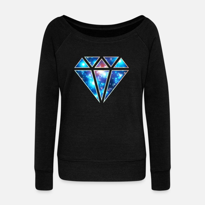 Infini Manches longues - Diamant, galaxy style, triangle, space, symbole,  - Pull col bateau Femme noir