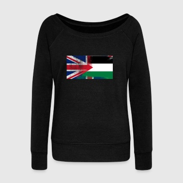 British Palestinian Half Palestine Half UK Flag - Women's Boat Neck Long Sleeve Top