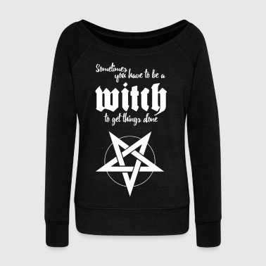 HEX with saying and pentagram - Women's Boat Neck Long Sleeve Top