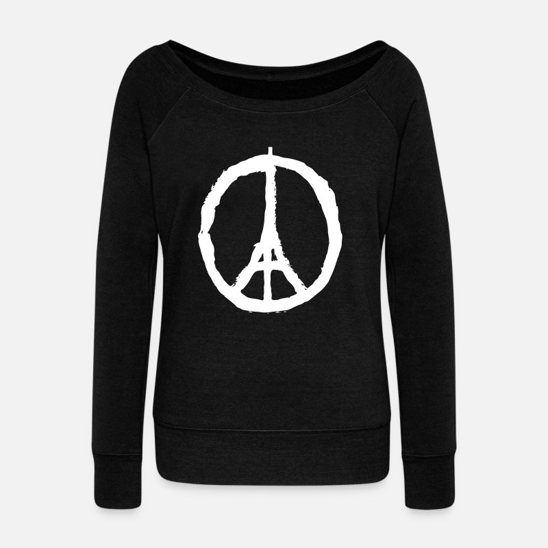 Paris Manches longues - PRAY FOR PARIS - PEACE FOR PARIS - Pull col bateau Femme noir