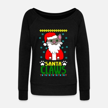santa claws cat Ugly Christmas - Women's Boat Neck Long Sleeve Top
