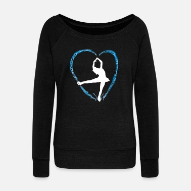 Skate Ice blue heart and a girl ice dance figure run - Women's Boat Neck Long Sleeve Top