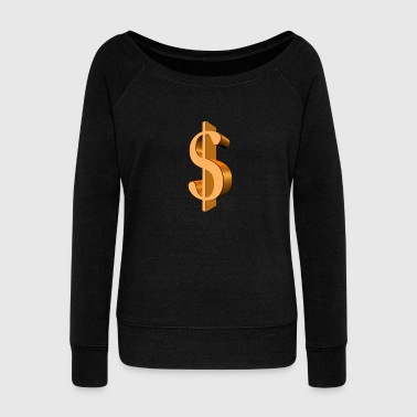 dollar gold sign - Women's Boat Neck Long Sleeve Top