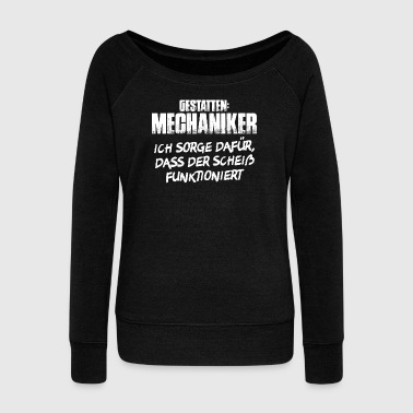 Allow mechanic mechanic mechanics - Women's Boat Neck Long Sleeve Top