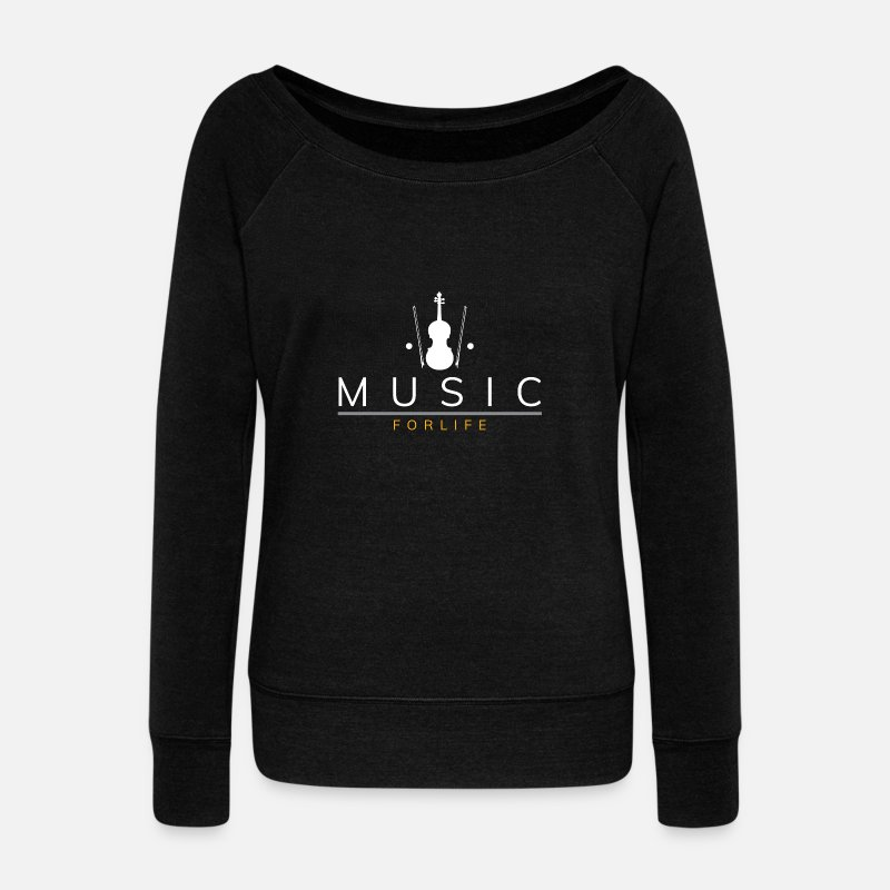 Violin Long Sleeve Shirts - Music for life saying violin violin - Women's Wide-Neck Sweatshirt black
