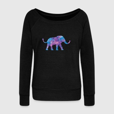 Elephant watercolor with tusks in purple purple - Women's Boat Neck Long Sleeve Top