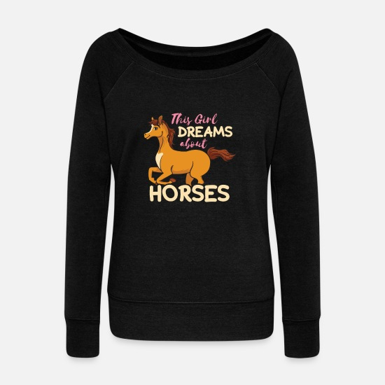 Horse Long Sleeve Shirts - Horses horse riding gift girls women - Women's Wide-Neck Sweatshirt black