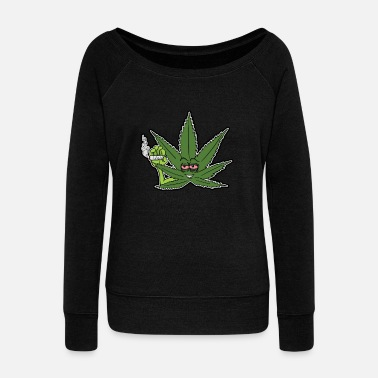 Cannabis Cannabis Leaf Pothead High Cannabis Weed Gift - Women's Boat Neck Long Sleeve Top