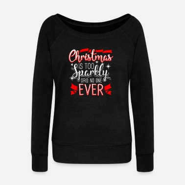 Sparkly Christmas Santa Sparkly Gift - Women's Boat Neck Long Sleeve Top