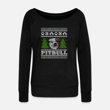 Ugly Pit Bull Christmas Ugly Shirt - Women's Boat Neck Long Sleeve Top