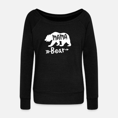 Mama Design Funny Mama Bear Camping Design - Women's Boat Neck Long Sleeve Top