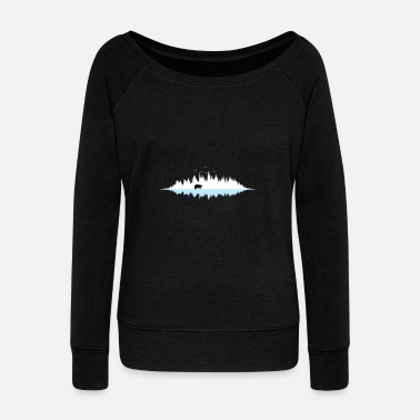 Reflective Nature silhouette forest bear reflection gift - Women's Wide-Neck Sweatshirt