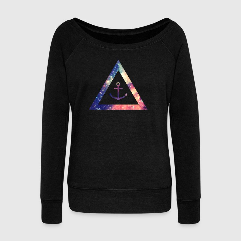 Galaxy / universe / hipster triangle with anchor - Women's Boat Neck Long Sleeve Top