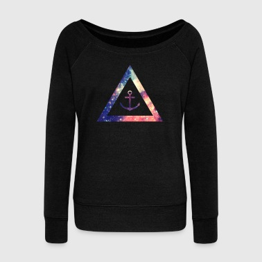 Galaxy / universe / hipster triangle with anchor - Sudadera con escote drapeado mujer