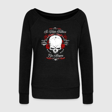 So many tattoos and only one body tattooed - Women's Boat Neck Long Sleeve Top