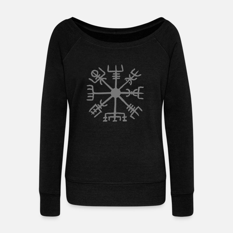 Viking Maglie a manica lunga - Vegvisir, Magic, Runes,  Protection & Navigation - T-Shirt a manica lunga da donna con scollo a barca nero
