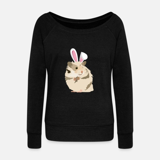 Easter Long sleeve shirts - Hamster With Easter Bunny Ears Funny Pascha - Women's Wide-Neck Sweatshirt black