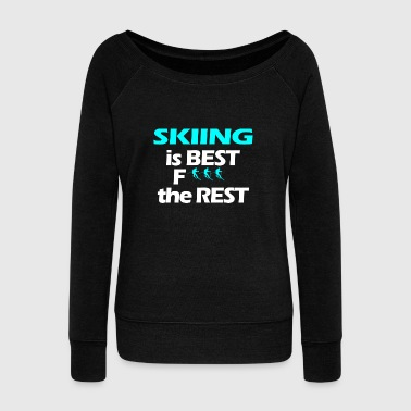 Ski Resort Skiing skiers ski resort - Women's Boat Neck Long Sleeve Top