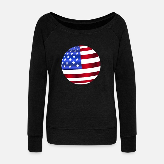 Usa Langærmede shirts - USA Amerika Flag Stars and Stripes Ball - Sweatshirt med ubåds-udskæring dame sort