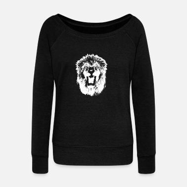 Fume Roaring Lion | Lion's Mouth | Fuming lion - Women's Boat Neck Long Sleeve Top