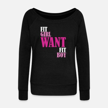 FIT GIRL MOTIVATION FITNESS COUPLES - Women's Boat Neck Long Sleeve Top