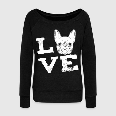 LOVE - French Bulldog - French Bulldog - Women's Boat Neck Long Sleeve Top