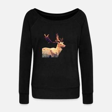 Stag Chic stag (poly) - Women's Wide-Neck Sweatshirt