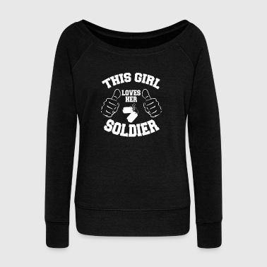 This Girl Loves Her Soldier - Women's Boat Neck Long Sleeve Top