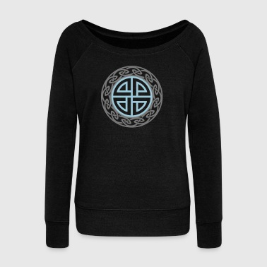 Celtic Shield Knot, Protection, Four Corner, Norse - Women's Boat Neck Long Sleeve Top