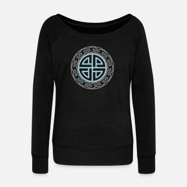 Celtic Knot Celtic Shield Knot, Protection, Four Corner, Norse - Women's Boat Neck Long Sleeve Top