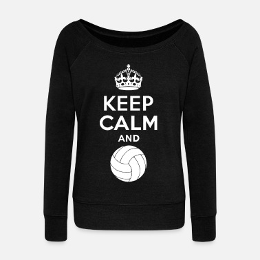 Volley Keep Calm - Volleyball 2 - Felpa con scollo a barca da donna, marca Bella