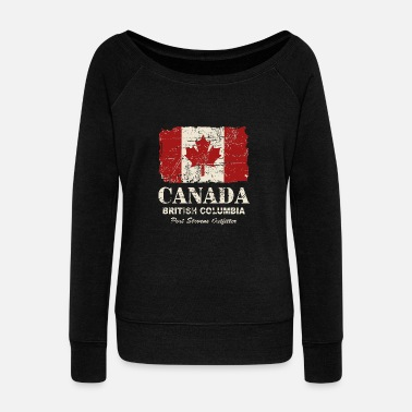 Canada Canada Flag - Vintage Look - Women's Wide-Neck Sweatshirt