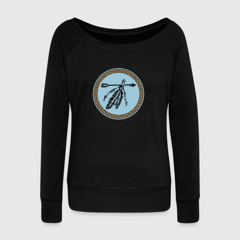 Arrow with feathers, Native American Indian tribes - Women's Boat Neck Long Sleeve Top
