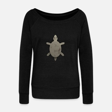 Iron Metal iron turtle - Women's Boat Neck Long Sleeve Top