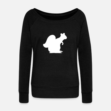 Sit Squirrel sitting - Women's Boat Neck Long Sleeve Top