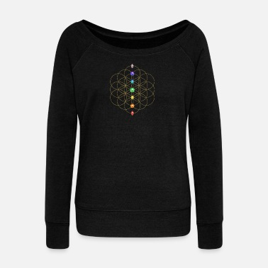 Reiki Flower of life,  Chakras - Rainbow, energy symbol, healing symbol - Women's Boat Neck Long Sleeve Top