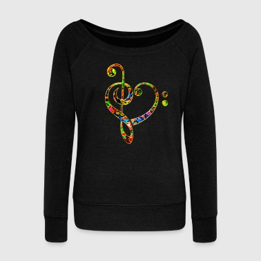 Music heart note, bass treble clef, classic, choir - Women's Boat Neck Long Sleeve Top