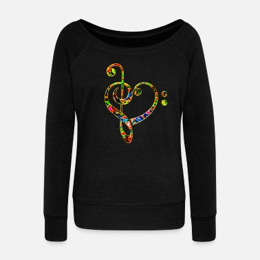 Choir Music heart note, bass treble clef, classic, choir - Women's Boat Neck Long Sleeve Top
